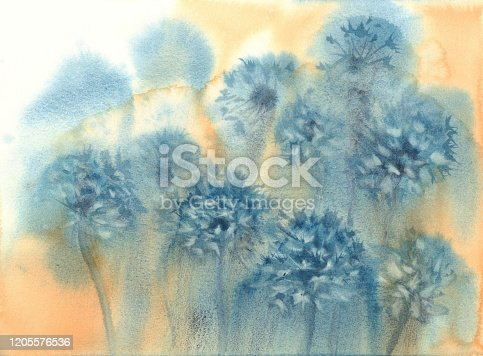 istock dandelion clockin the yellow grunge watercolor background 1205576536