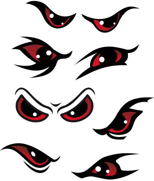 illustrazioni stock, clip art, cartoni animati e icone di tendenza di pericolo gli occhi - malvagità