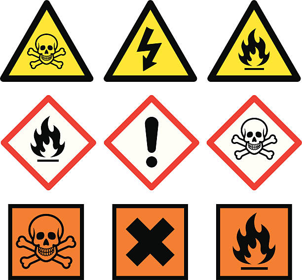 "Danger Signs ""Danger related vector signs for your design, website or presentation."" hazardous chemicals stock illustrations"