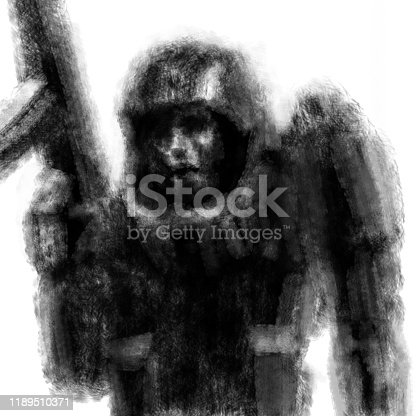 Dangerous soldier with rifle in his hand. Illustration in the fiction genre with the effect of coal and noise. Black and white.