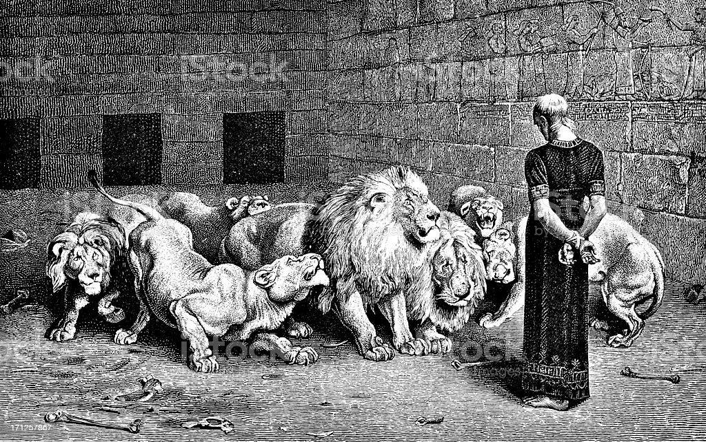 Daniel in the Lion's Den - Victorian Illustration vector art illustration