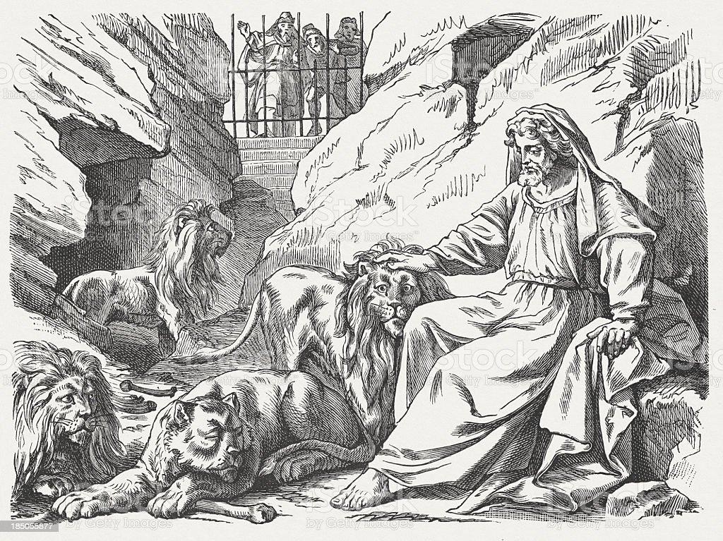 Daniel in the lions den, wood engraving, published in 1877 vector art illustration