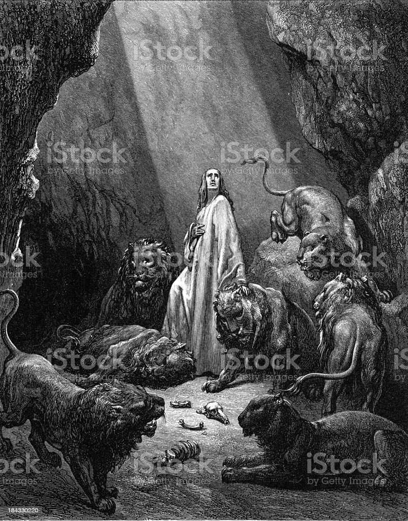 Daniel in the lions' den vector art illustration