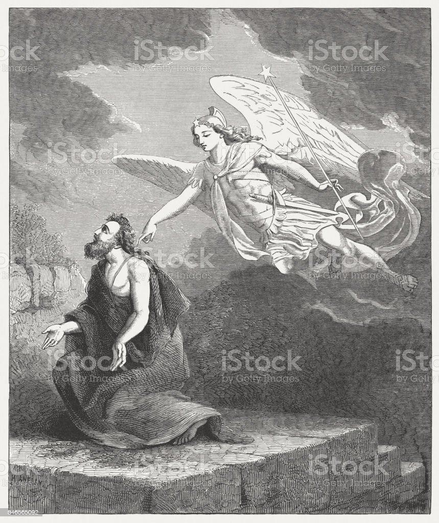 Oración de Daniel y el ángel Gabriel (Daniel 9, 21) - ilustración de arte vectorial