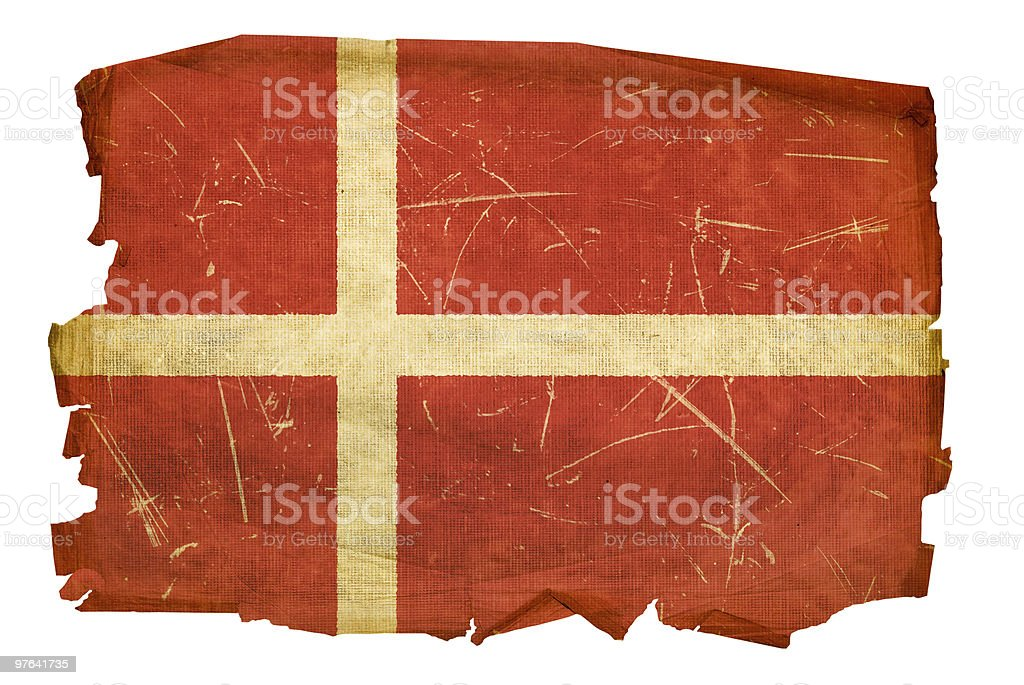 Danish Flag old, isolated on white background. vector art illustration