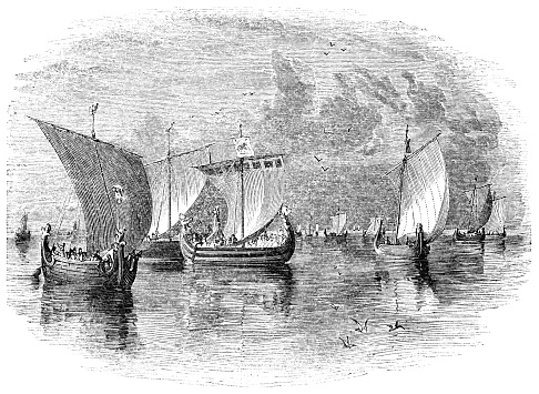 Danish Karve sailing ships in Baltic Sea off the coast of Denmark from the Works of William Shakespeare. Vintage etching circa mid 19th century.