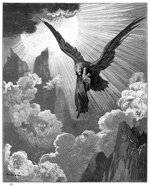 illustrazioni stock, clip art, cartoni animati e icone di tendenza di dante and the eagle engraving 1870 - dante alighieri