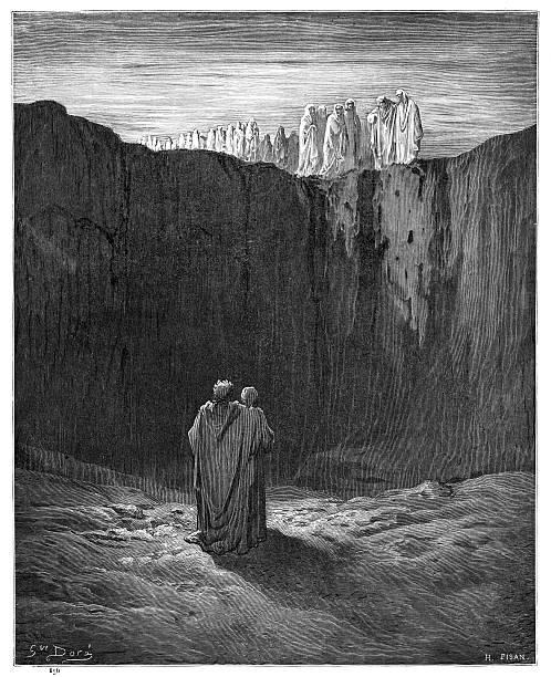 illustrazioni stock, clip art, cartoni animati e icone di tendenza di dante divine coemdy purgatory 1870 - dante alighieri