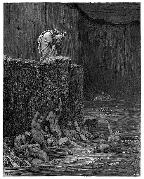 Dante Purgatory 1870 The Dore Gallery by Edmund Ollier - Cassel, Petter and Galpin (London-New York) 1870 seven deadly sins stock illustrations