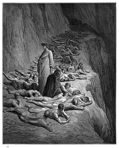illustrazioni stock, clip art, cartoni animati e icone di tendenza di dante with pope adrian v engraving 1870 - dante alighieri