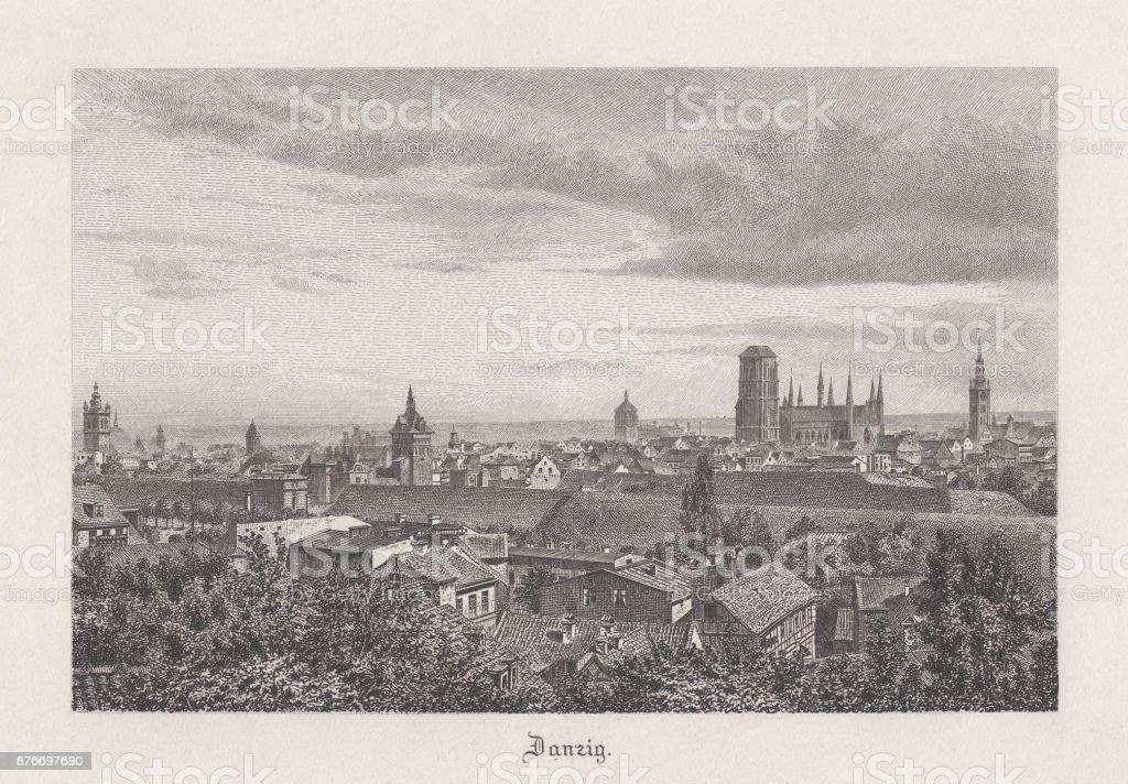 Danzig, Prussia, Germany (today: Gdańsk, Poland), steel engraving, published 1885 vector art illustration
