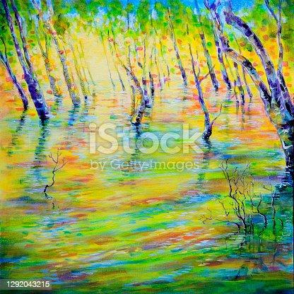 istock Dapppled Sunlight on Sea Water in Mangrove Trees Acrylic Painting 1292043215