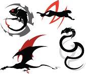 """Dark animals tattoo set (chameleon, cheetah, snake & dragon)."""