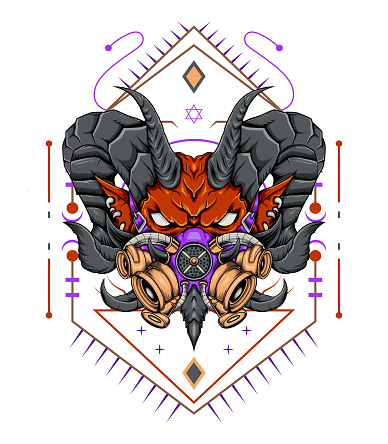 Dark art monster with gas mask detailed illustration