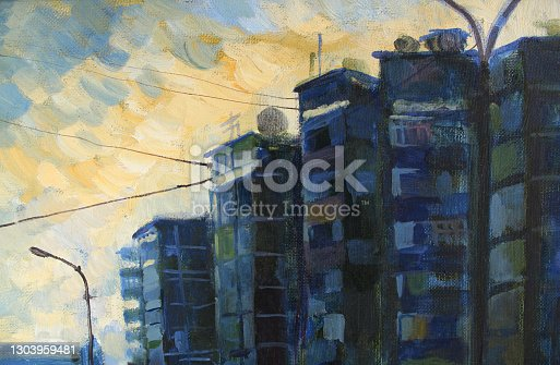 istock Dark blue and black abstract city town house and sky oil painting on canvas texture background. Art creative brushstroke object for textile, card, wallpaper, wrapping, sketchbook 1303959481