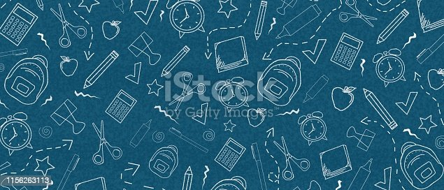 Dark blue background back to school concept with line art elements