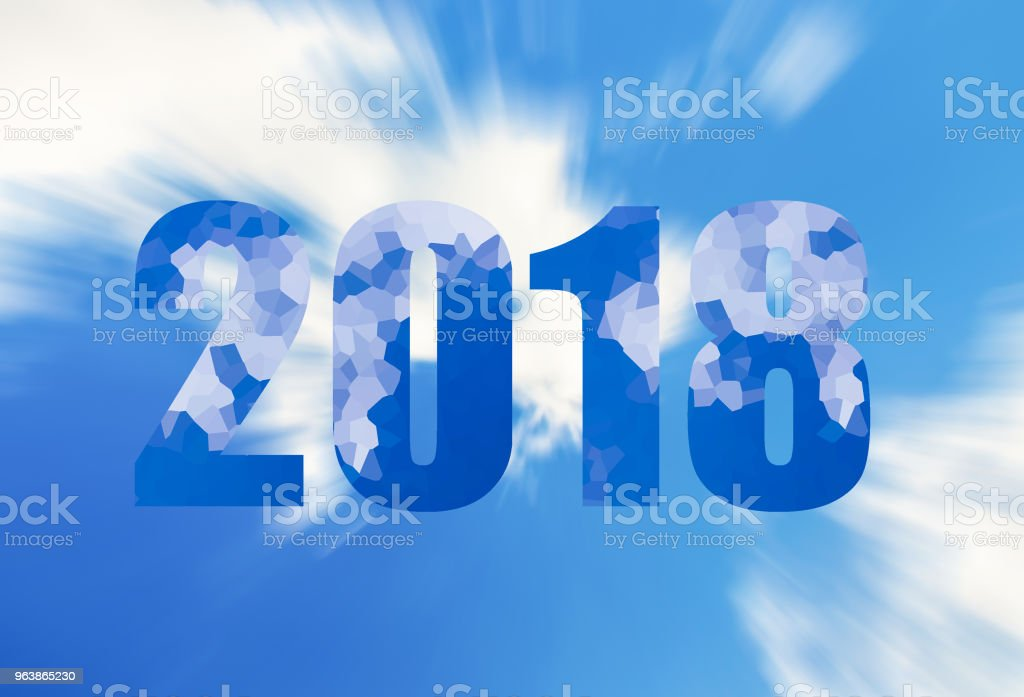 dark blue figures symbol of the new year two thousand eighteen, 2018 with a crystal snow ornament on a background of azure sky and clouds - Royalty-free 2018 stock illustration
