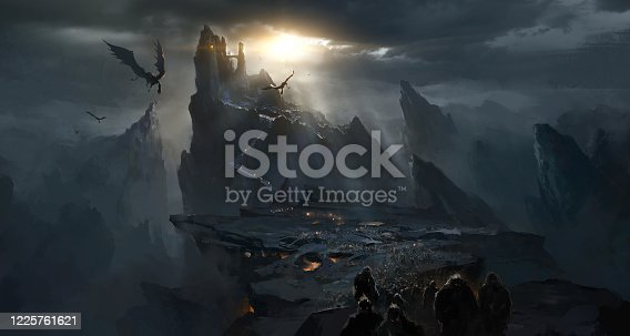 istock Dark castle in the valley, dark atmosphere of hell. 1225761621