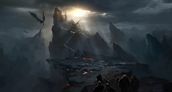 Dark Castle In The Valley Dark Atmosphere Of Hell Stock Illustration -  Download Image Now - iStock