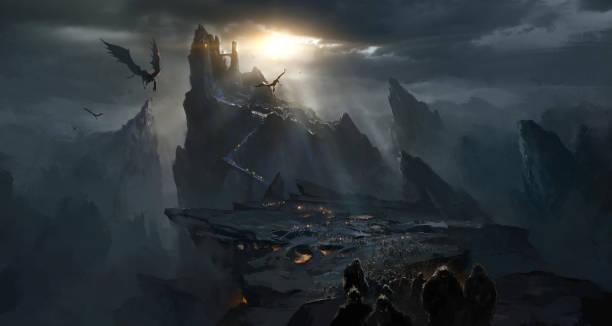 Dark castle in the valley, dark atmosphere of hell. Dark castle in the valley, dark atmosphere of hell. fantasy stock illustrations