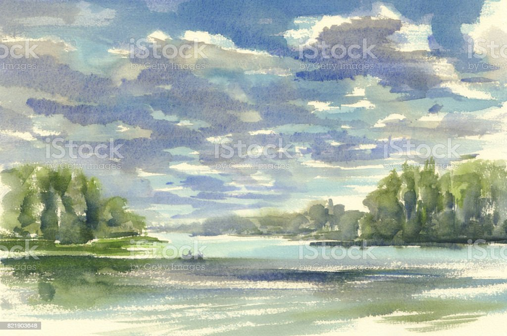 dark clouds over the lake watercolor vector art illustration