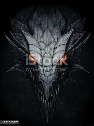 istock Dark dragon in stone background 1281013273