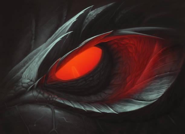 dark dragon red glowing eye - dragon eye stock illustrations, clip art, cartoons, & icons