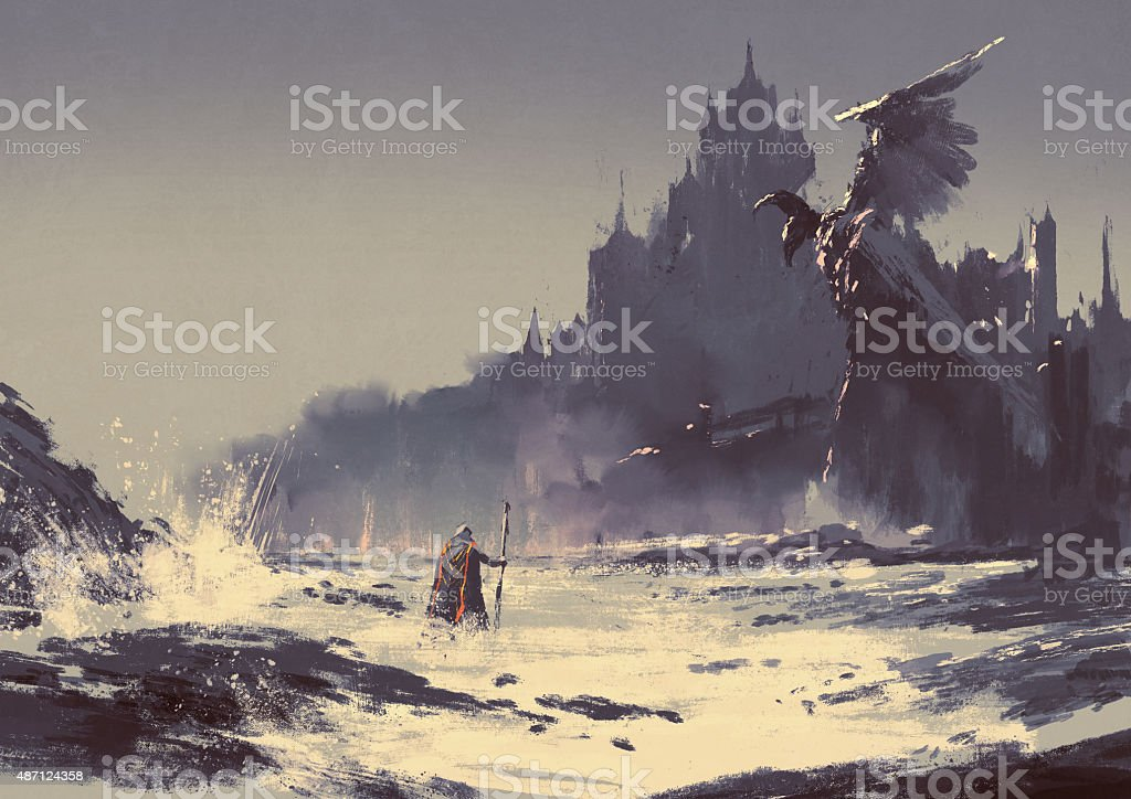dark fantasy castle vector art illustration
