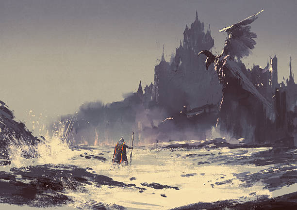 dark fantasy castle illustration painting of king walking through sea beach next to fantasy castle in background dreamlike stock illustrations