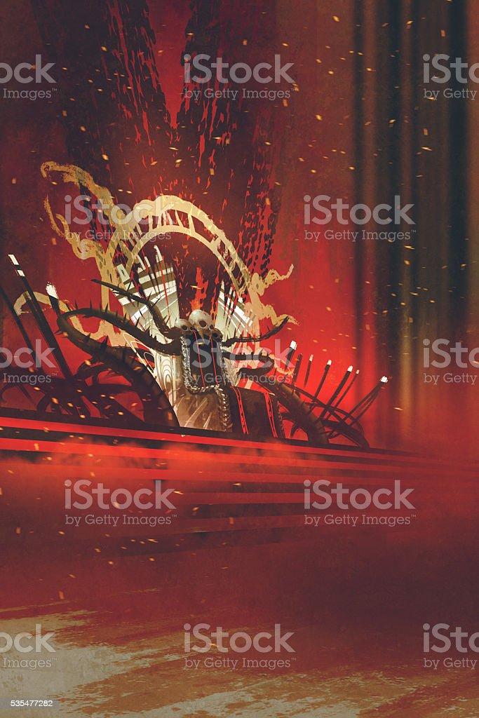 dark fantasy throne with red curtains vector art illustration