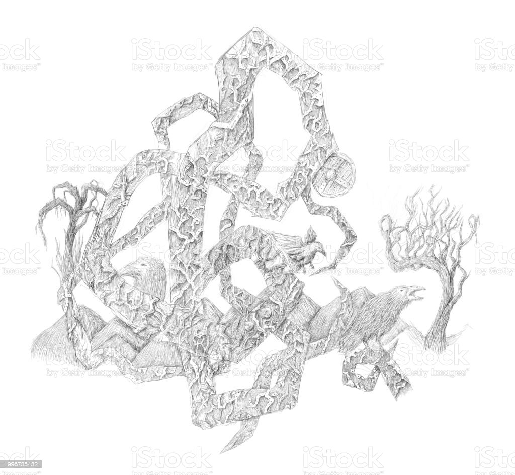 Dark Gothic Art Monochrome Abstract Sketch Tree Raven