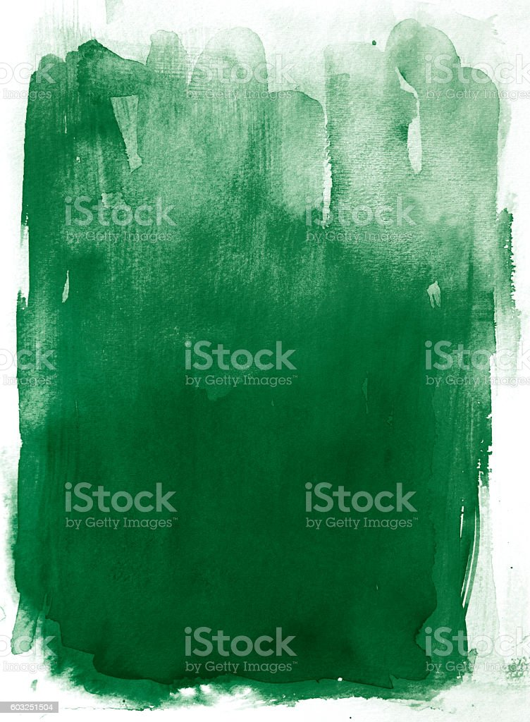 Dark Green watercolor background. Hand painted. vector art illustration