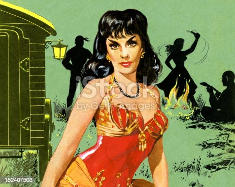Dark Haired Gypsy Woman in Red