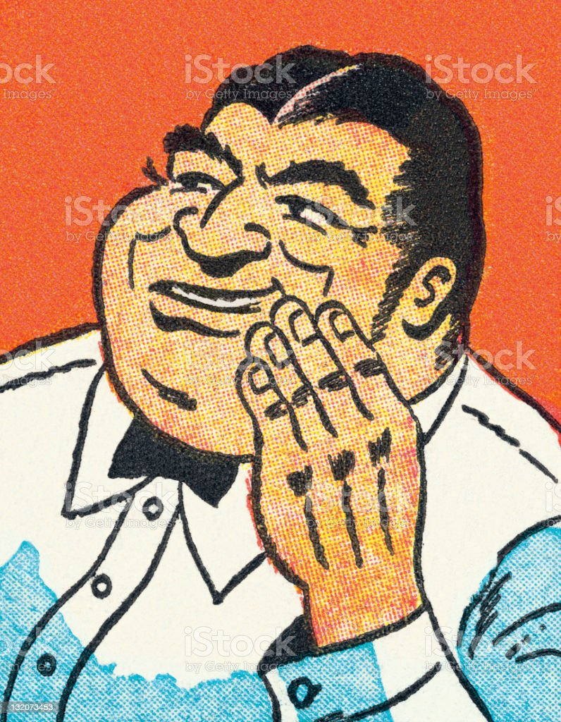 Dark Haired Man With Hand Raised vector art illustration