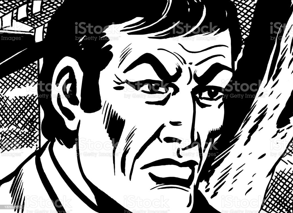 Dark Haired Man With Sunken Cheeks Stock Vector Art & More Images of