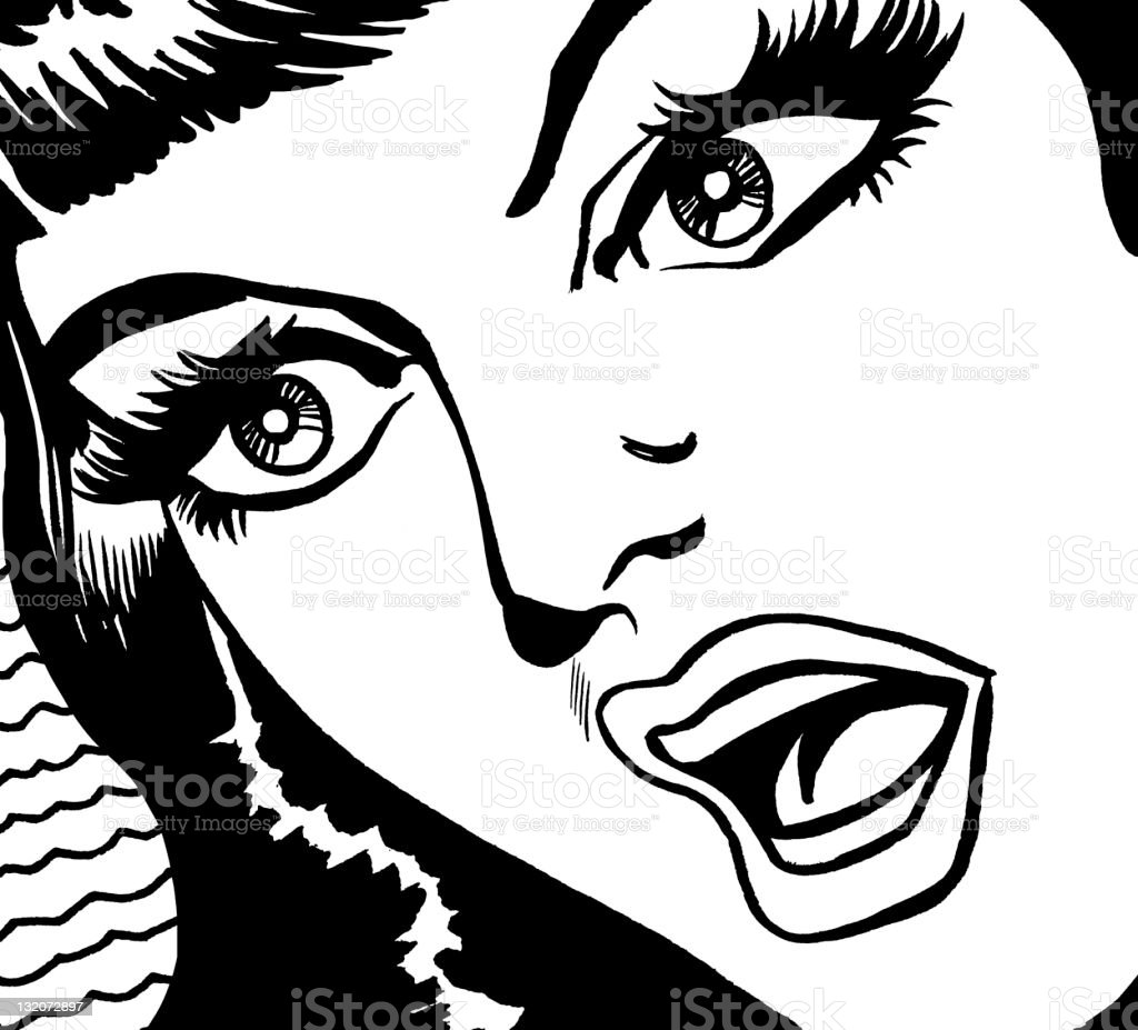 Dark Haired Woman Gasping royalty-free stock vector art