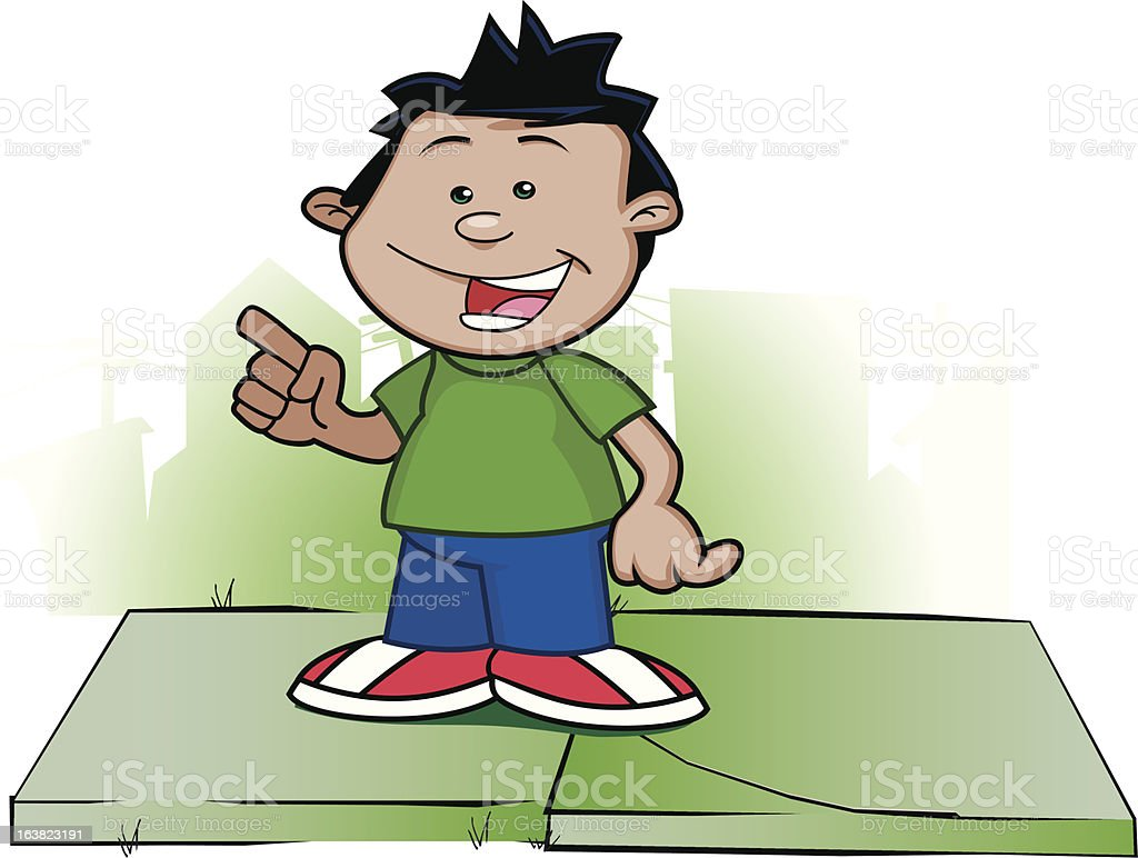 Dark haired young boy hanging out royalty-free stock vector art