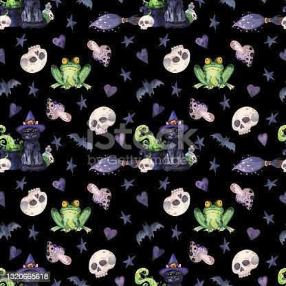 istock Dark hand-drawn Halloween seamless pattern. 1320665618