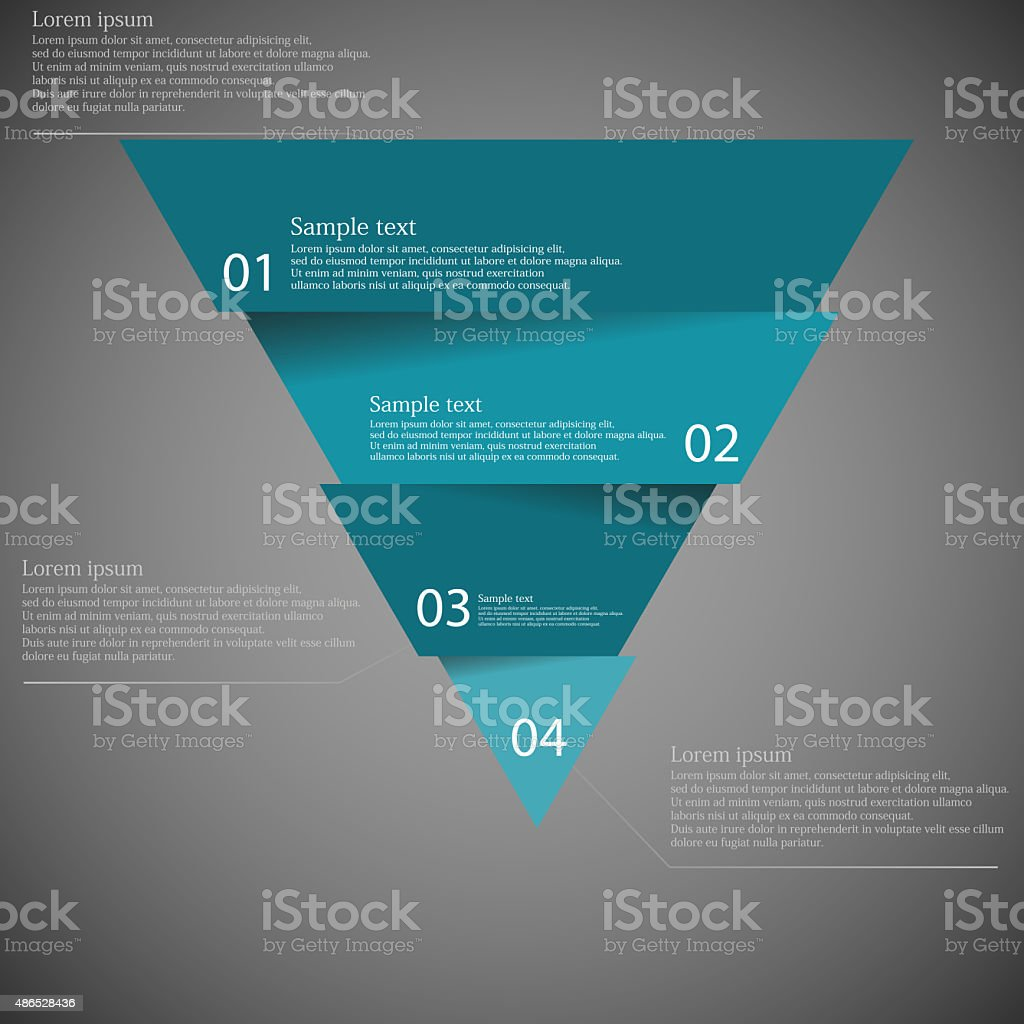 Dark illustration inforgraphic with triangle divided to four parts vector art illustration