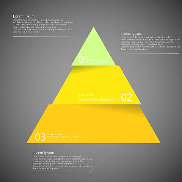 Dark illustration inforgraphic with triangle divided to three parts vector art illustration