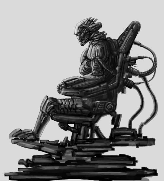 bildbanksillustrationer, clip art samt tecknat material och ikoner med dark lord sitter i kostym på tronen järn. science fiction illustration. - tron sci fi