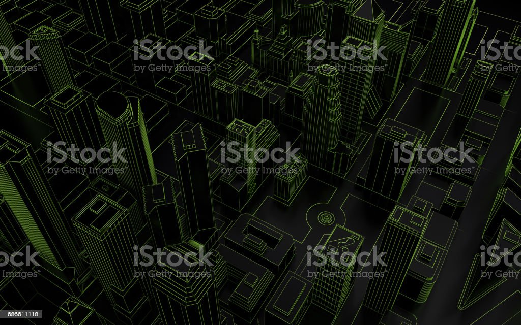 dark low poly city green mesh 3d rendering royalty-free dark low poly city green mesh 3d rendering stock vector art & more images of architecture