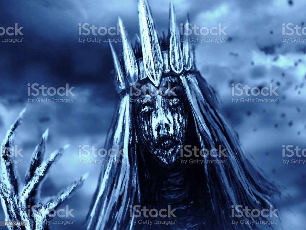 Dark Queen With Crown Pulls Bony Hand Blue Background Color Stock