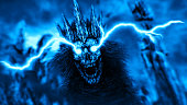 Dark queen with lightning from eyes. Blue background color. Fantasy illustration.