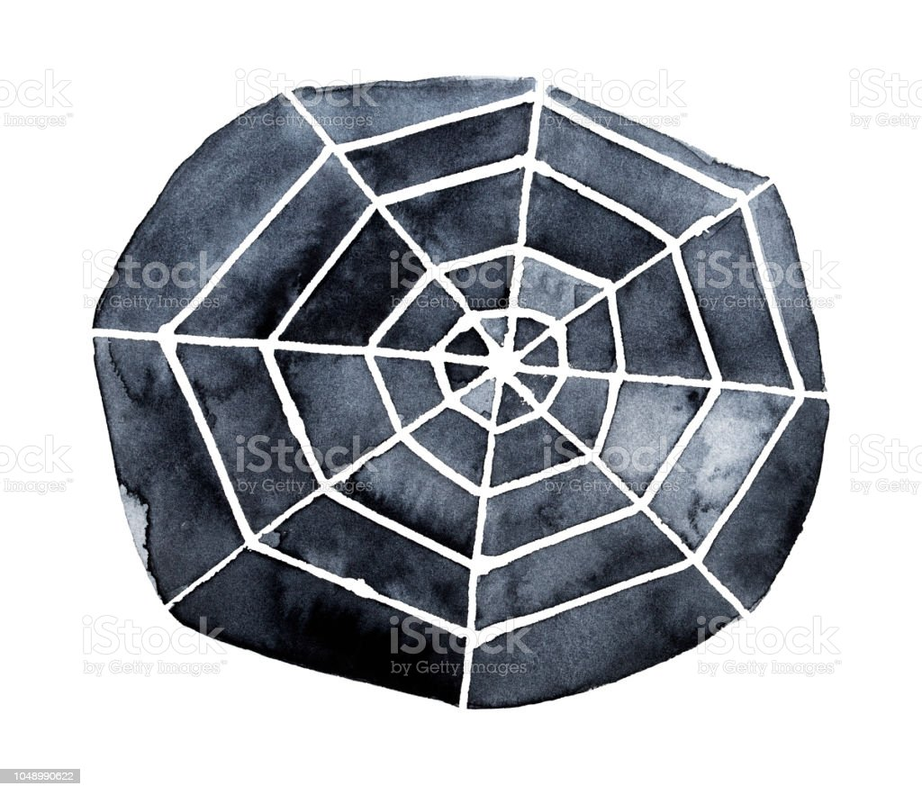 Dark Spider Web Watercolor Monochrome Drawing Symbol Of Darkness