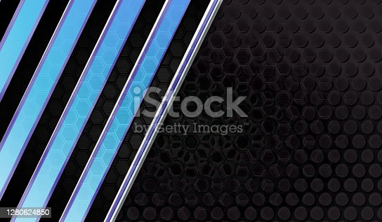 istock Dark technology futuristic metallic texture background with hexagon shapes with blue shades oblique lines. 1280624850