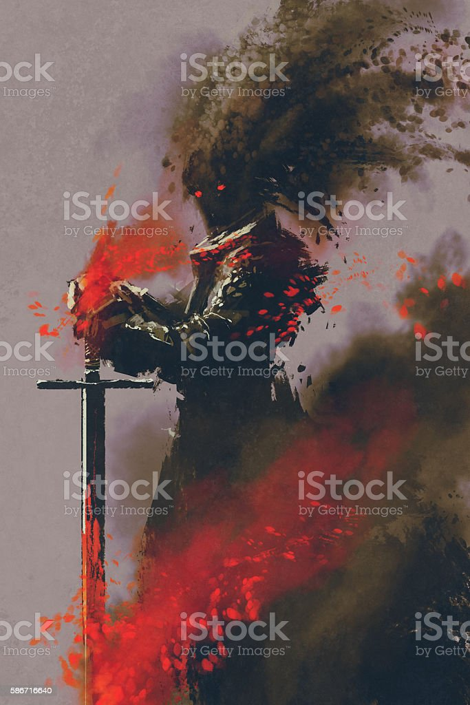 dark warrior in the armor with the sword vector art illustration