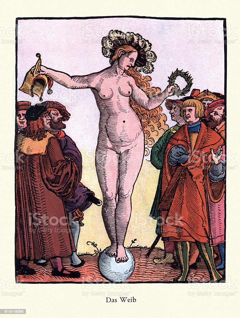 Das Weib- The Female, c. 16th Century vector art illustration