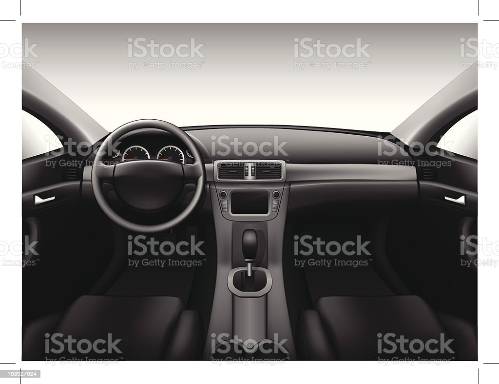 Dashboard - car interior vector art illustration