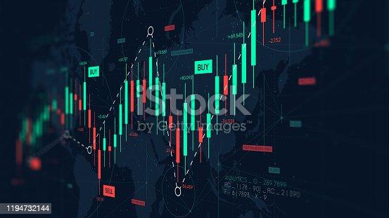 istock Dashboard graph of forex statistics, business and financial analytics, profit and cost rate, monitor screen in perspective 1194732144